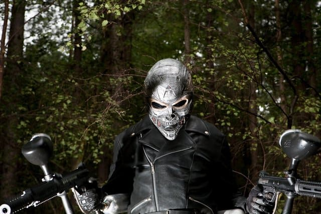 Terminator Posing with Paintball Guns