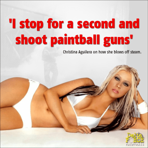 Christina Aguilera shares paintball secrets