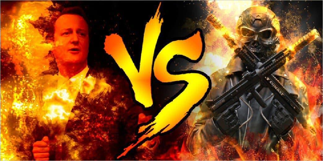 David Cameron vs Paintball Terminator