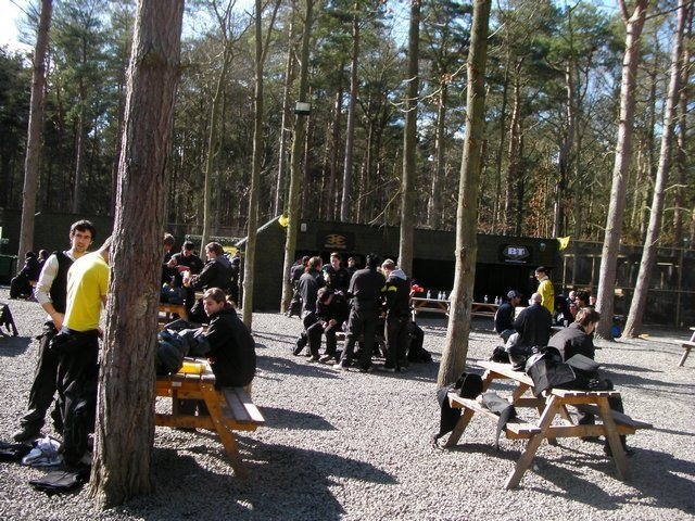 Players enjoying lunch at Delta Force basecamp