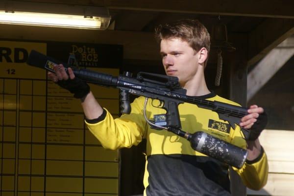 Marshal Presenting M16 Paintball Gun