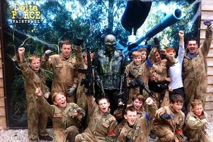 Scouts pose with Delta Force Terminator