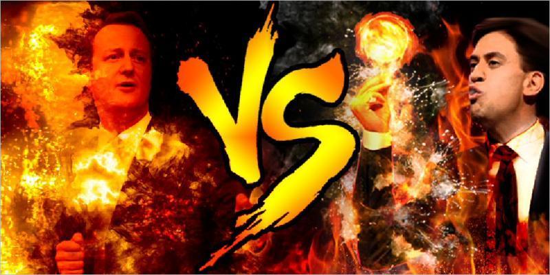 david cameron vs ed miliband paintball