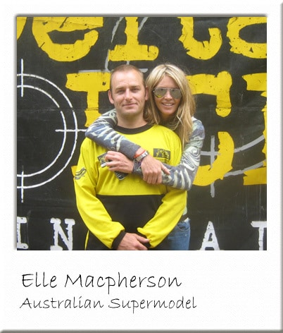 Elle Macpherson visiting Paintball Centre