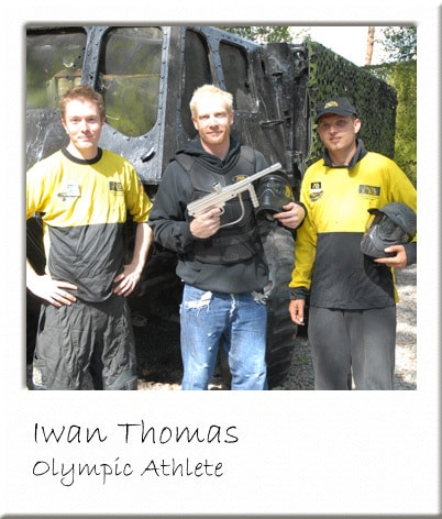Iwan Thomas with Paintball Gun