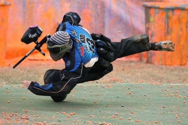 Professional paintball player takes evasive action