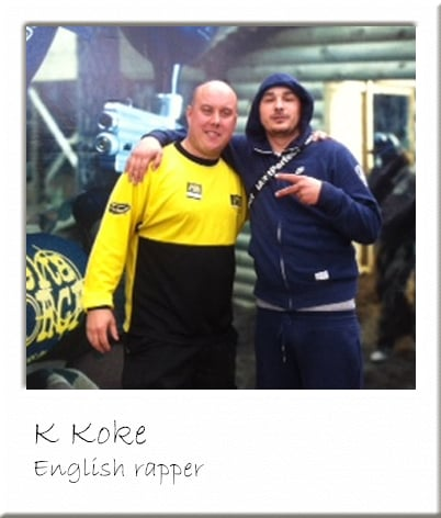 K Koke - English rapper Posing with Paintball Marshal
