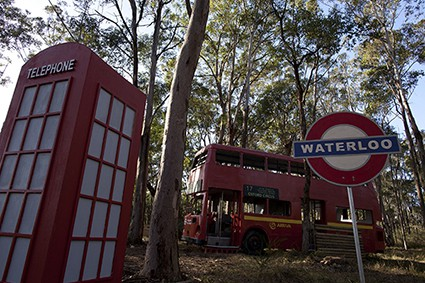 Waterloo sign, telephone box, double-decker bus