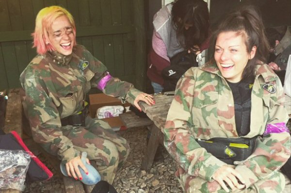 Lily Allen Laughing With Friend At Delta Force Paintball