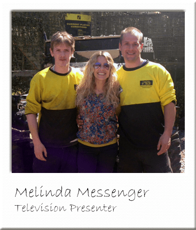 Melinda Messenger with Paintball Marshals