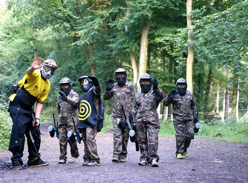 Paintball Marshal and Kids Wave at Camera