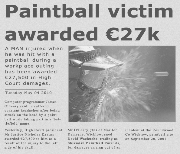 Skirmish paintball suing article