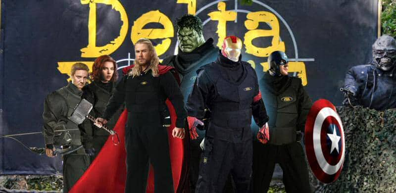 Avengers pose in Delta Force overalls