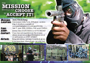 Paintball invitation - 'the mission'