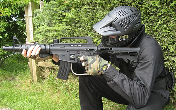 Paintball Player with M16 Gun