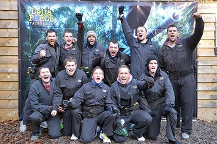 Stag party in paintball costume