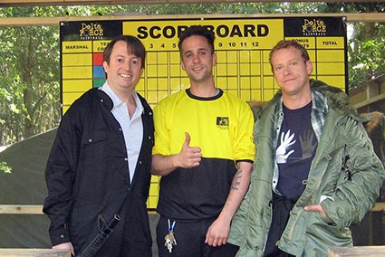 David Mitchell and Robert Webb with marshal