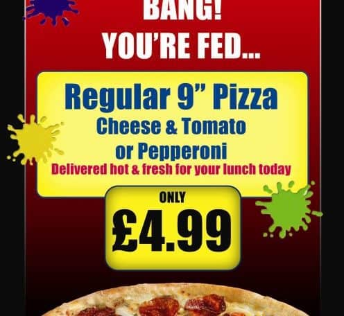 Pizza Advert at Paintball Centre