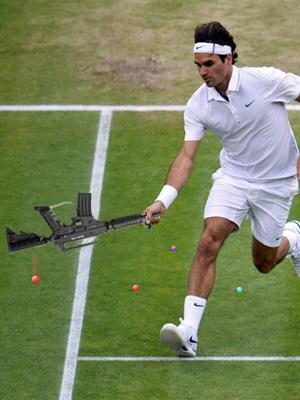 Roger Federer with Paintball Gun