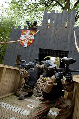Players occupy castle drawbridge and ramparts