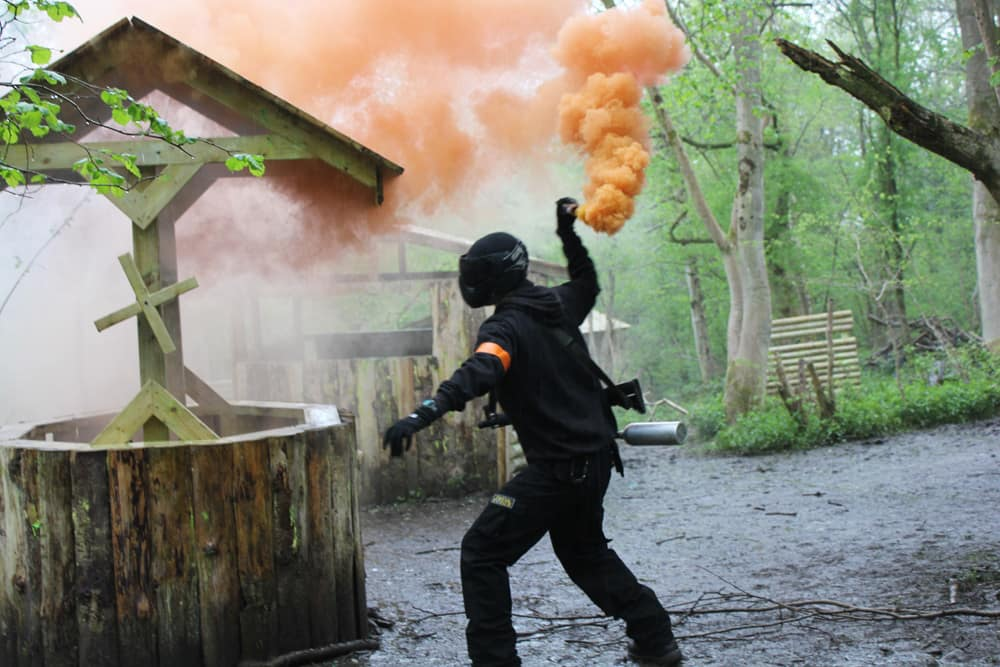 paintballer with smoke grenade bournemouth