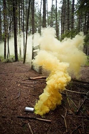Smoke Grenade Used During Paintballing Game