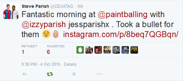 Steve Parish Paintball Tweet