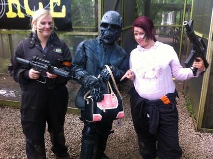 Terminator poses with handbag