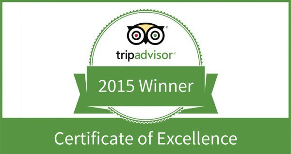TripAdvisor 5 star Certificate of Excellence