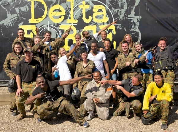 Usain Bolt and team pose at base camp