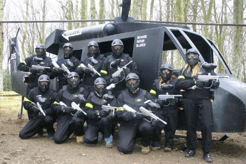 Players pose with Hemel Hempstead's Black Hawk