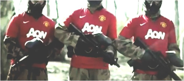 M16s against Manchester United shirts