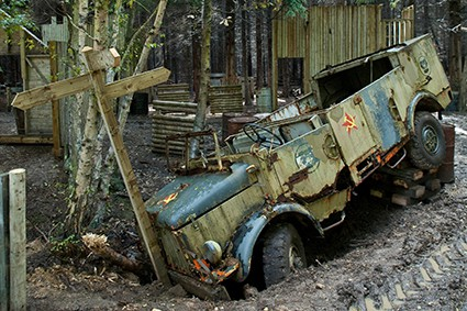 Soviet truck crashed into signpost
