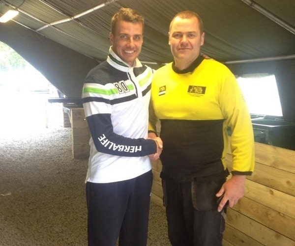 Newcastle FC's Stephen Taylor with marshal
