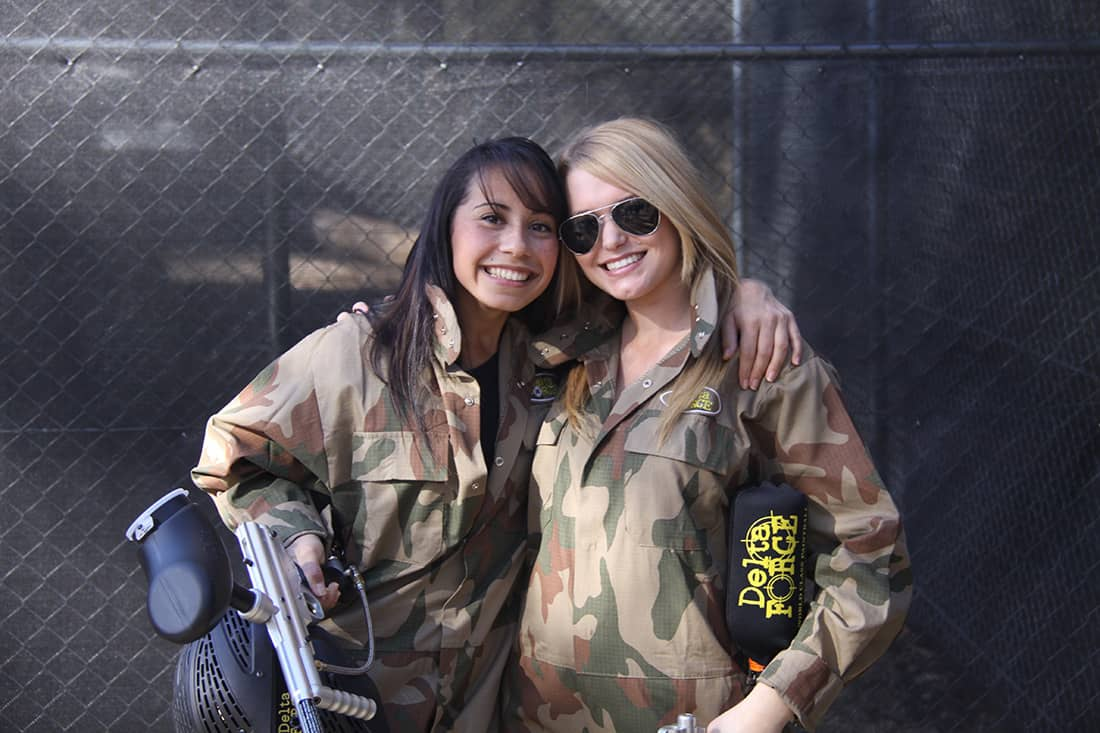 Two Girls on Paintballing Day Out Nottingham