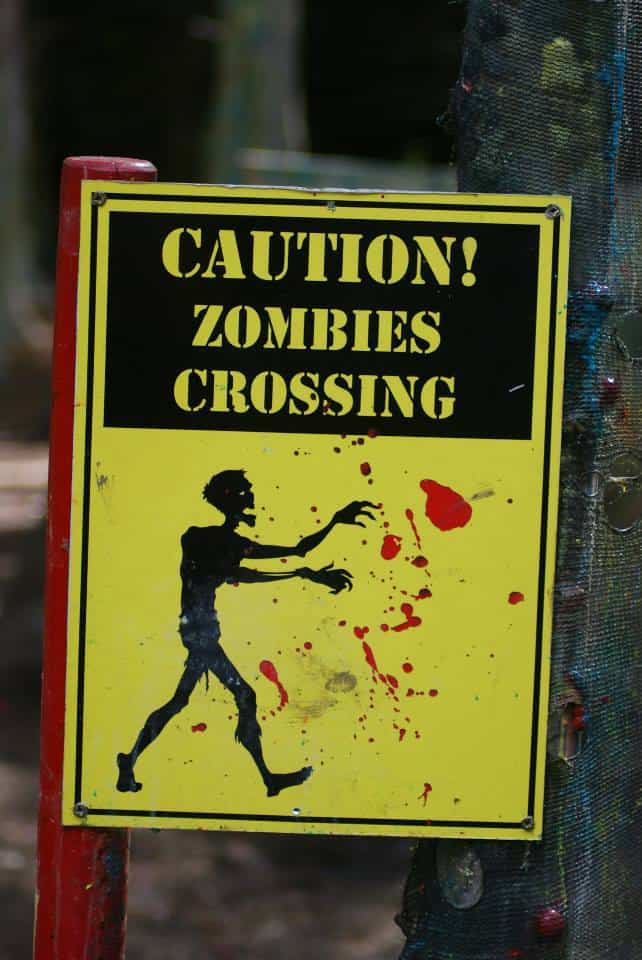caution zombies crossing