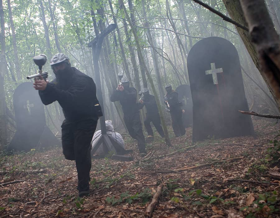 haunted graveyard-paintball-action