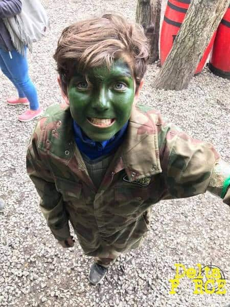 delta force paintball kid in facepaint