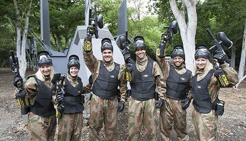 Group of Adults Paintball Players
